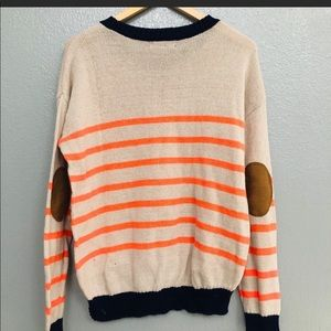orange stripes and elbow patch sweater